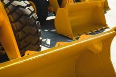 Maskin för grävskopaladdare Sidosikt av Front Hoe Loader industriellt medel Maskin för tung konstruktionsutrustning Pneumatisk la fotografering för bildbyråer