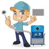 Maskin för lokalvård för HVAC-tekniker hållande royaltyfri illustrationer