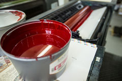 Maskin för offset- printing (rött färgpulver) Royaltyfri Fotografi
