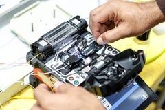 Maskin för splits för optisk kabel för fiber royaltyfria foton