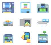 Maskiner för kontroll för pengar för bankrörelsebetalningATM sänker kontanta royaltyfri illustrationer