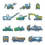 Maskiner för vägkonstruktion sätta på land tidskriften för färgflickaillustrationen som läser den sandiga vektorn Symbolsstilupps royaltyfri illustrationer