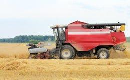Maskineri för att skörda korn Arkivfoto