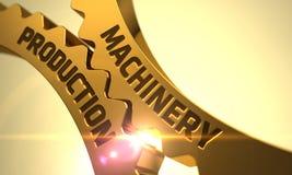 Maskineriproduktion på de guld- metalliska kugghjulen 3d Fotografering för Bildbyråer