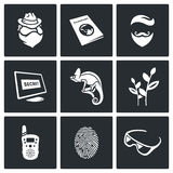Masking of humans and animals icons set. Vector Illustration. Stock Image