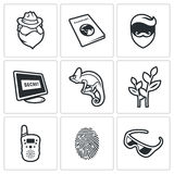 Masking of humans and animals icons set. Vector Illustration. Stock Photos
