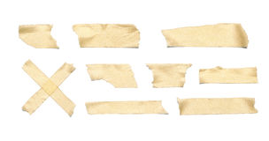 Masking Tape. Collection of various adhesive tape pieces on white background. Each one is shot separately, including Clipping Path Stock Images