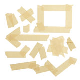 Masking Tape Pieces. Various ripped pieces of tape combnations isolated on a White Background Royalty Free Stock Photography