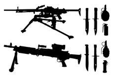 Maskingevär knivar, granater Arkivbild