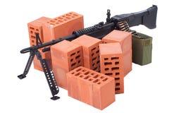 Maskingevär M60 med amminitionbandet Arkivbilder