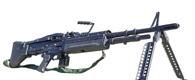 Maskingevär M60 på vit Arkivfoton