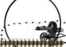 Maskingeväret och skjuter med kulspruta kuter Arkivfoto