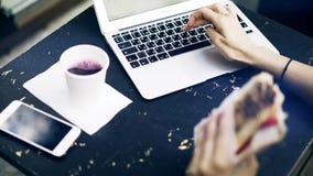 Maskinskrivning för ung kvinna på bärbara datorn och ätasmörgåsen utanför stock video