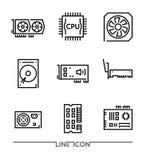 Maskinvarusymboler; PC:N som förbättrar delar fodrar thin, vektorn Royaltyfria Foton