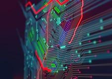 Maskinvaruteknologi för elektronisk dator malldesign Royaltyfria Bilder