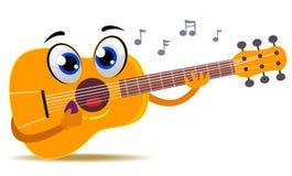 Maskot för akustisk gitarr som spelar sig stock illustrationer