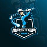 Maskot för design för golfvektorlogo med modern illustrationbegreppsstil för emblem-, emblem- och tshirtutskrift alla kontrollera stock illustrationer