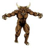 Maskot för sportar för Minotaur tjur läskig Arkivbild
