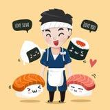 Maskot för sushi för Japan gullig kockvän royaltyfri illustrationer