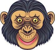 Maskot för tecknad filmschimpanshuvud royaltyfri illustrationer