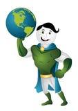 Maskot hero of globe. Cartoon hero mascot of globe illustration vector illustration