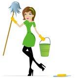 Maskottchen der Reinigungs-Dame-Karikatur Stockfotografie