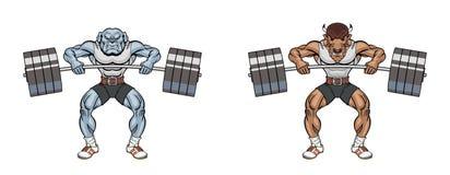 Maskottchengewichtheben Lizenzfreie Stockfotografie
