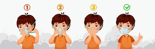 Maskowa N95 instrukcja Dziecka zanieczyszczenie powietrza ochrona, odkurza ochronne zbawcze oddychanie maski i PM2 5 defence wekt royalty ilustracja