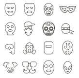 Maskowe lub przebranie ikony Cienieją Kreskowego Wektorowego ilustracja set ilustracji