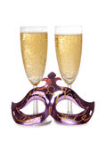Maskowy i szampański szkło Zdjęcia Stock