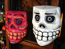 Masks. Mexican Death Masks for Day of The Dead and Halloween Celebration Stock Photography
