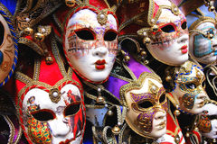 Masks. A closeup of some venetian masks stock image