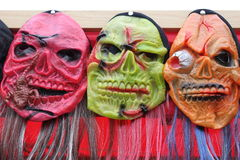 Masks for Halloween. Decorative and colored masks for party Stock Photo