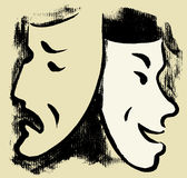 Masks. Vector drawing of two theatrical masks Stock Photo