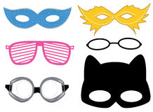 Masks. And glasses colorful set Royalty Free Stock Photo