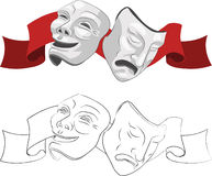 Masks. Theatre comedy and tragedy masks Stock Image