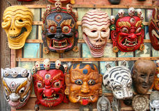 Masks. Colourful masks on sale in Kathmandu Nepal royalty free stock image