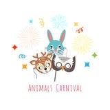 Masks for Animal Carnival. Deer, Rabbit, Owl. Animal carnival funny childish masks with fireworks. Masks of forest animals deer with rabbit and owl. Vector Stock Images