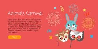 Masks for Animal Carnival. Deer, Rabbit, Owl. Animal carnival funny childish masks with fireworks. Masks of forest animals deer with rabbit and owl. Vector Stock Photo