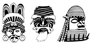 Masks, Aztec, Japanese and African Stock Image