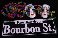 Masks. Beads and Bourbon Street Royalty Free Stock Photo