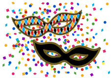 Masks and confetti Royalty Free Stock Images