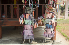 Masks and costume Phi Kon Nam or tradition of ghost carriage water Royalty Free Stock Images