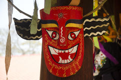 Masks and costume Phi Kon Nam or tradition of ghost carriage water Royalty Free Stock Photos