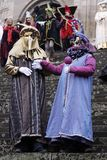 Masks and costumes. Historic carnival with masks and costumes Royalty Free Stock Photo