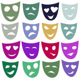 Masks of different emotions in different colors. Raster. Stock Images