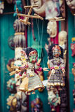 Masks, dolls and souvenirs in street shop at Durbar Square in Ka Stock Image