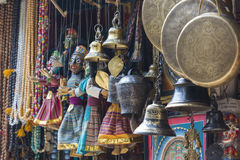 Masks, dolls and souvenirs in street shop at Durbar Square in Ka Stock Photos