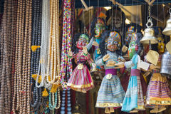Masks, dolls and souvenirs in street shop at Durbar Square in Ka Royalty Free Stock Images