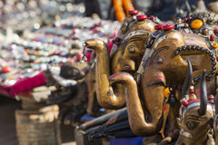 Masks, dolls and souvenirs in street shop at Durbar Square in Ka Stock Photo